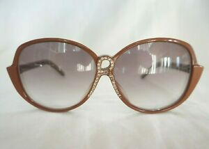 Vintage 1980s Roberta Di Camerino Rhinestone R Light Brown Sunglasses