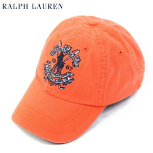Polo Ralph Lauren Baseball Cap Hat with Emblem - Orange -