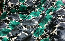 New Top Quality stretchy Burnout in Velvet green/grey Floral design Dress fabric