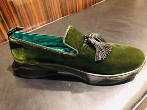Tom Ford NIB $1390.00 Green Velvet Tassel   Sneakers Loafers  Shoes Size 11 1/2