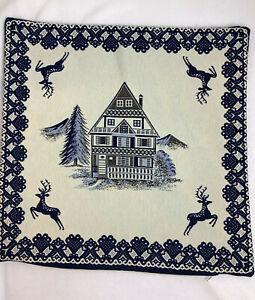 17X17 Mid Century Handmade Pillow Case Winter Scene House/ Pine/ Deer / Heart