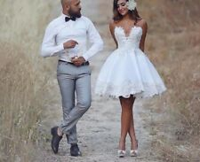 Sexy Short Mini Lace Wedding Dress Bridal Gown Custom Size 2 4 6 8 10 12 14 16++