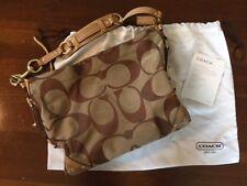 COACH CARLY Signature Shoulder Bag Khaki Brown with Sateen Storage Bag