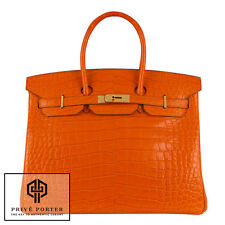 SUPER RARE HERMES ORANGE BIRKIN 35CM MATTE ALLIGATOR CROCODILE GOLD GHW BNIB