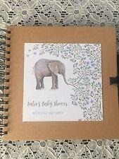 Personalised Baby Shower Memory Scrapbook - Purple Blue Watercolour Elephant