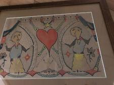 VINTAGE 1959 Surreal Alien Drawing  SIGNED MYSTERY ARTIST Dieudonne' Trippy Folk