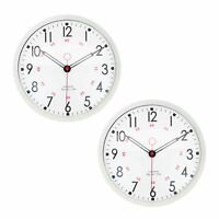Metal Wall Clock Retro Large Round Home Office Bedroom Kitchen Work - Cream - x2