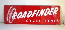 Vintage Original Old Rare Road Finder Cycle Tyre Ad Porcelain Enamel Sign Board