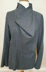SCANLAN & THEODORE Pale Grey Cotton Silk Wrap Button Neck Long Sleeve Blazer 8