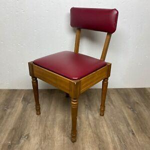 Vintage Sewing Chair Machine Cabinet Notion Storage Vinyl Seat Stool Backrest