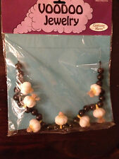 VOODOO WITCH DOCTOR COSTUME ACCESSORY FAKE GARLIC AND BLACK BEAD NECKLACE - NIP-