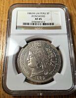1882 Peru 5 pesetas Ayacucho silver reales lima pesetas NGC XF45 BLAST WHITE!