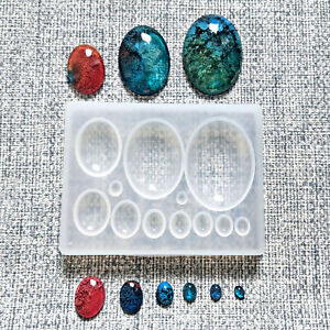 💎 SHALLOW CABOCHON 💎 OVAL JEWEL SILICONE RESIN MOULD MOLD JEWELLERY MAKING UK
