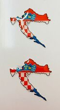 """Croatia Map Flag 2x Small 3D Gel Stickers 3cm (1.2"""") Domed for Moto Gsm Tablet"""