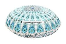 "Floral Cushion Cover Fabric 32"" Inches Mandala Ottoman Pouf Footstool Cotton Art"