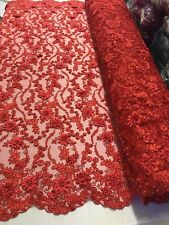 Floral - Embroidered Flower Mesh & Pearls Lace Fabric Red By The Yard