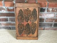 Antique Carved Wooden Hanging Art Board Pine Cone Designs