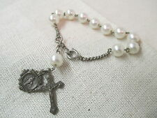 Vintage Italy Bracelet Rosary faux pearls