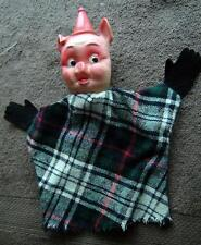 Vintage PIG Hand Puppet with Plaid Outfit