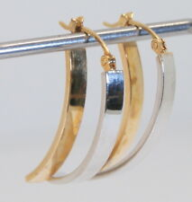 Large Unique 14K Yellow & White Gold Drop/Stick Earrings 1""