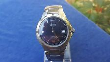 Boxed Pulsar Mens Wrist Watch 50M Water Proof Blue Face Chrome Band