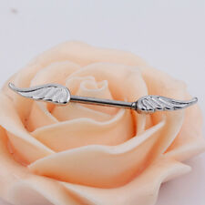 1 Pair Angel Wings Feather Body Nipple Bar Barbell Piercing  Ring 14G Jewely NH