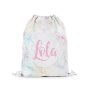 Personalised Rainbow Marble Drawstring Bag Girls PE Swimming School Bag #29
