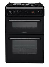 Hotpoint Hag60k Standing 60cm Double Cavity Gas Cooker Black