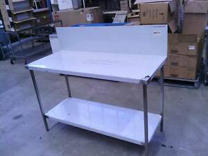 STAINLESS STEEL 1400x600mm GRADE 304 COMMERCIAL WALL BENCH WITH 300mm SPLASHBACK