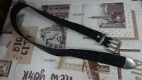 LEVIS STRAUSS MENS BLACK LEATHER BELT SIZE M (108cm)/made in Italy di
