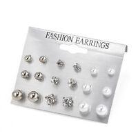 Fashion 9 Pairs Womens Rhinestone Crystal Pearl Earring Set Ear Stud Jewelry