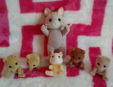 Calico Critters Sylvanian Families Lot of 6 Cat w/ Babies Hamster Bears