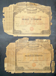 Special Tax Stamps Dealer in Tobacco 1914 and 1916