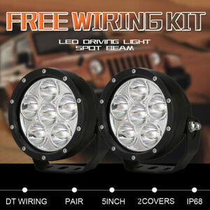 Pair 5 inch CREE Round Black LED Spot Driving Lights Offroad 4x4 ATV Work Lamp