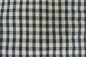 Vintage Woven Home Decor Fabric Classic Black & Ivory White Plaid Check 6 yds