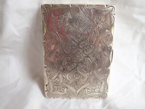 c1864 Antique F MARSON Silver Visiting Card Cigarette Case GOTHIC Revival