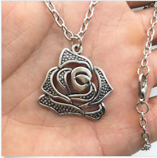 Silver Rose Flowers pendant alloy necklace women girl necklace friend gift