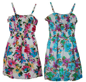 C035 -Girls White Multi Coloured Floral Cotton Puff Base Dress - 10/12 Years Old