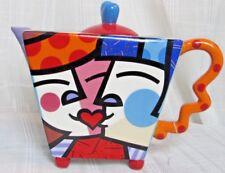 Romero Britto Kiss Kissing Couple Ceramic Teapot - 2010 New - Never Used