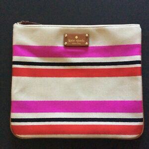 Kate Spade Adrianne Clutch Cosmetic Bag in Oak Island Stripe - Tan / Red New wit