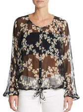 Elizabeth & James Benji Floral Silk Blouse Shirt in Black Size XS
