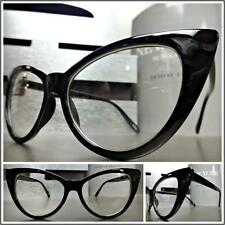 CLASSIC VINTAGE 60s RETRO CAT EYE Style Clear Lens EYE GLASSES Small Black Frame