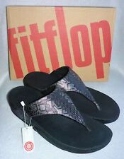 f87edc1e8 New Fitflop Lulu Python Print Black Snake Toe Thong Post Sandals Ladies Box  Sz 8