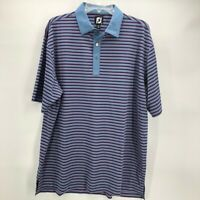 FootJoy Mens Golf Polo Shirt Blue Pink Stripe Short Sleeve Logo Stretch Sport XL