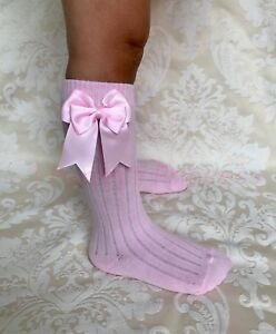 PERFECT PRINCESS Spanish Double Bow RIBBED Knee High Socks. Baby/Girls/School
