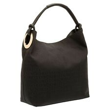 NEW OROTON Stencil Hobo Large Bag Handbag Leather Canvas Black BNWT RRP $495