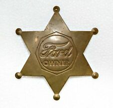 Rare Vintage FORD OWNER 6 point BRASS Star Badge Fox Stamp Script Logo