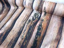 Edler Bezugsstoff Baumwolle Holz Bretter beige braun vintage Meterware 0,5 24000