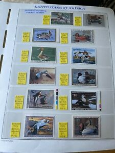 UNITED STATES OF AMERICA FEDERAL HUNTING PERMIT STAMPS COMPLETE RUN BETWEEN 1982