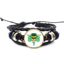 Irish Pride Glass Cabochon Bracelet Braided Leather Strap Bracelets*